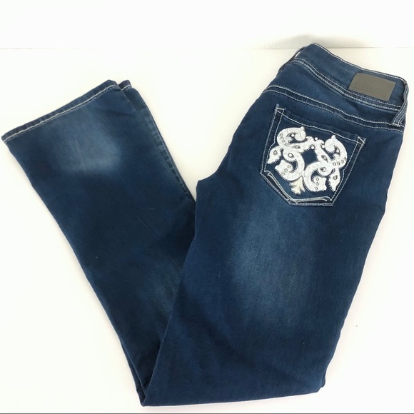 Hydraulic Faux Leather Studded Bootcut Jeans